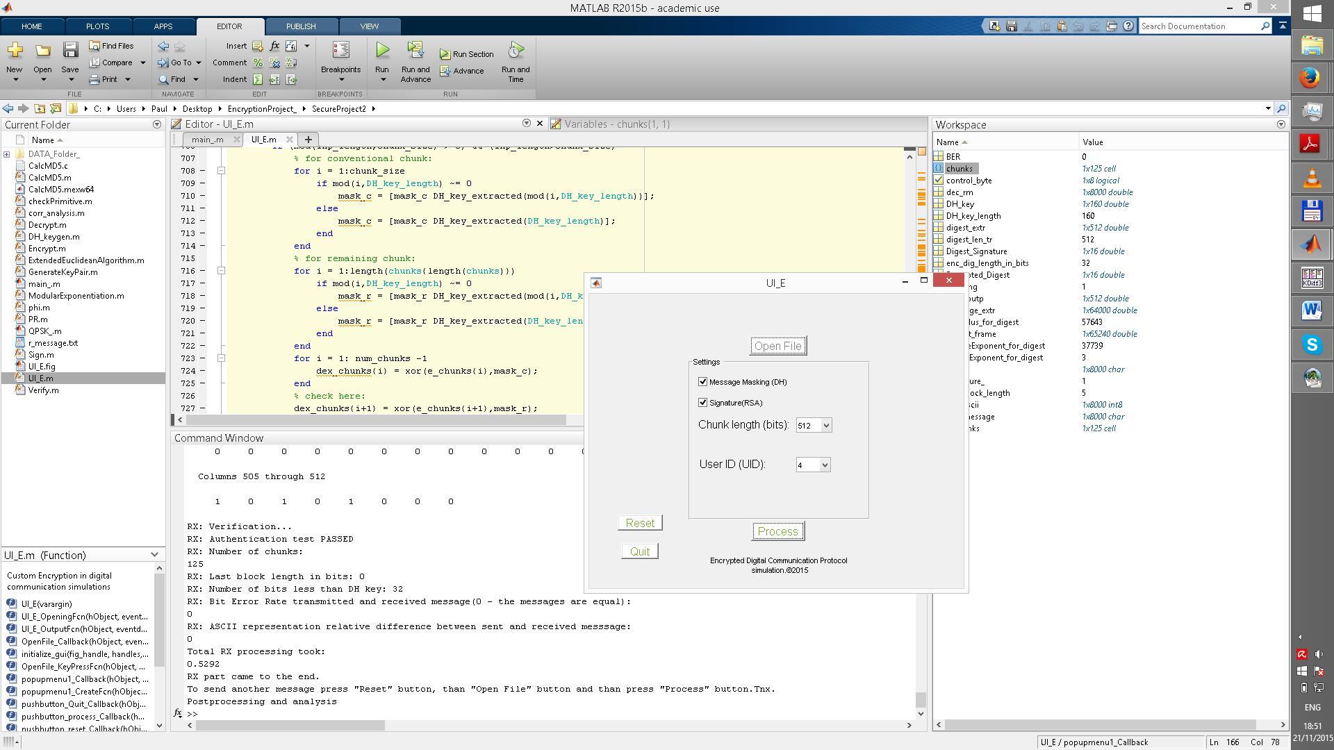 Custom encrypted Digital Communication simulation