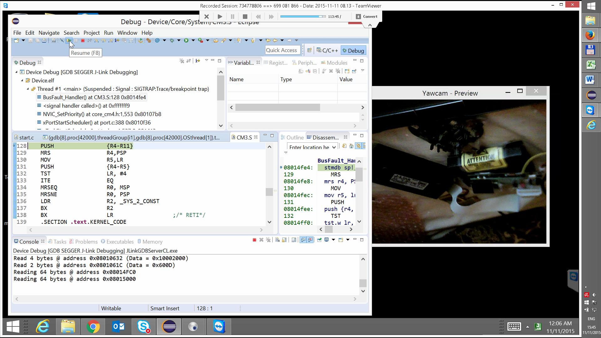 Remote Debugging of custom STM ARM Cortex-M4 MCU based board.